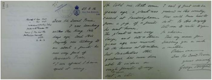 Photo of letter from Sir George Holford