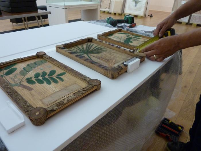 A bespoke frame is made to display Japanese wooden panels from Kew's Economic Botany collection