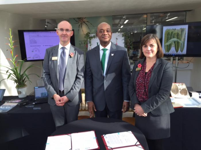 Prof Kathy Willis, Director of Science at Kew and Colombian Minister for the Environment with Richard Deverell, Director of Kew (RBG Kew)