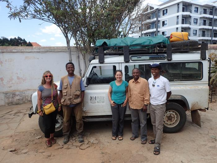 Image showing: team Tahina return in 2016 (L>R): Alison Shapcott (University of the Sunshine Coast), David Rabehevitra (Kew Madagascar), Lauren Gardiner (RBG Kew, UK), Rockiman Letsara (PBZT/CAS, Madagascar), Roger Rajaoarison (Kew Madagascar)