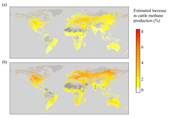 Image showing predictions using (a) an optimistic estimate and (b) a severe estimate of climate change