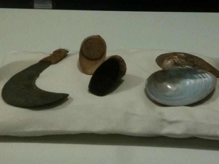 Tools used to harvest sap from the Chinese lacquer tree (Rhus vernicifera); a knife to incise the bark, spouts to tap it and mussel shells to collect sap, which is used as a varnish.