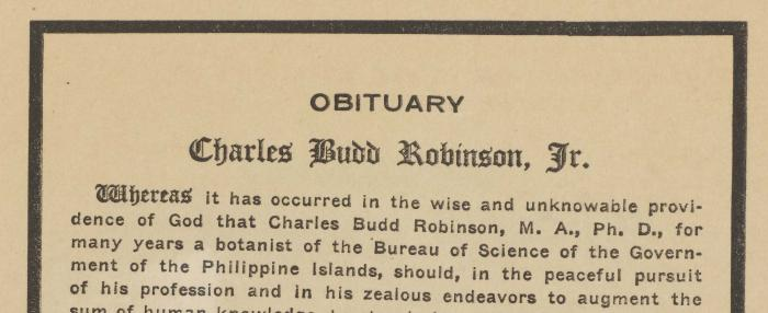CB Robinson archive extracts