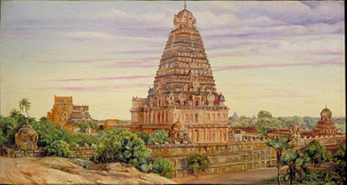 Temple of Tanjore, Southern India: painting by Marianne North