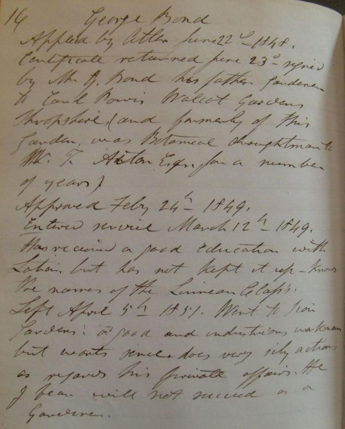 Notes about gardener George Bond by John Smith