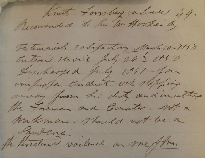 Notes about gardener Knut Forsberg