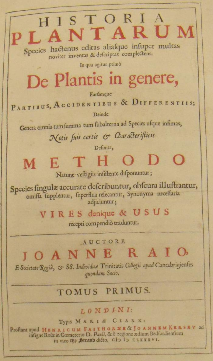 Title page of the 1686 edition of John Ray's Historia Plantarum held at Kew
