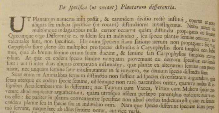 Extract from the 1686 edition of John Ray's Historia Plantarum held at Kew