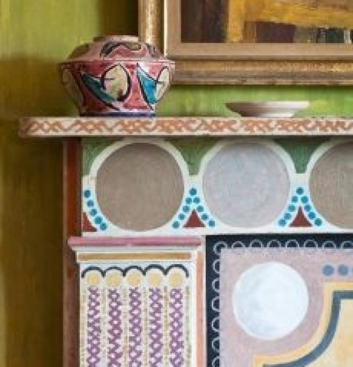 Photo of a painting of the fireplace at Charleston House by Vanessa Bell