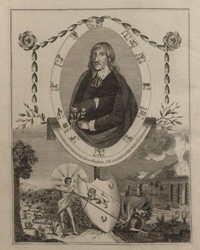 Portrait from the title page in Culpeper's English physician ; and complete herbal,
