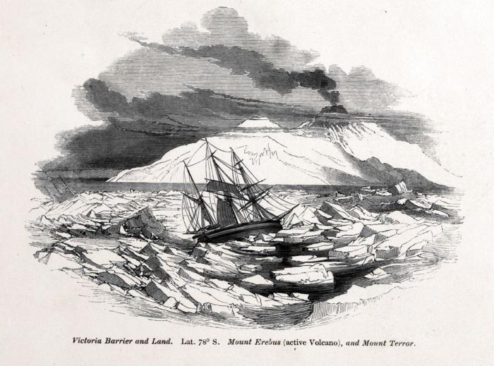 Illustration of the one of the Expedition ships amongst the ice in front of Mount Erebus and Mount Terror, from the frontispiece of The Botany of the Antarctic Voyage by Joseph Hooker, published in 1847.