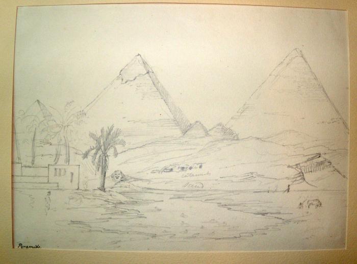 'Pyramids', pencil sketch by Joseph Hooker, 1847