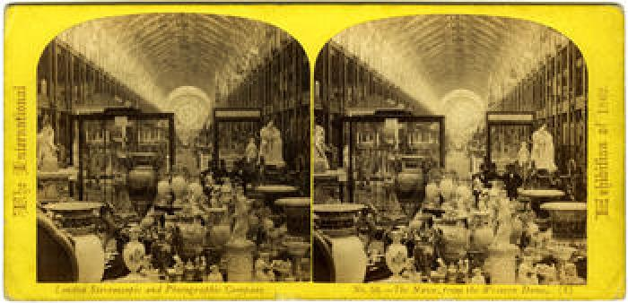 A stereoscopic image from the London International Exhibition 1862