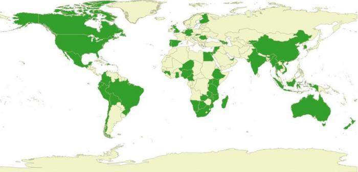 Map highlighting (in green) countries where Kew has partner organisations and current agreements