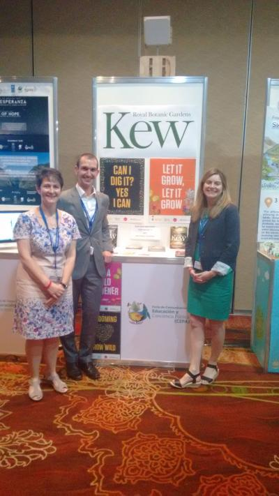 Julia Willison, David Cope and Sarah Roberts in front of the Kew stand at the CEPA (Communication, Education and Public Awareness) fair