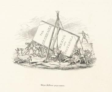 This cartoon by George Cruikshank from Bateman's work shows the impracticalities of a volume of this scale – perhaps the reason it is unrivalled in size!