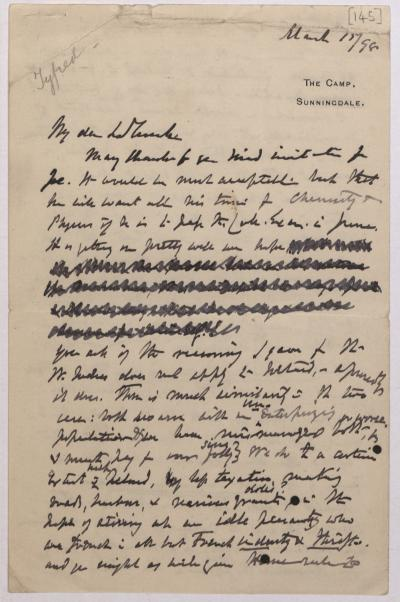 Joseph Hooker letter to La Touche March 15th 1898