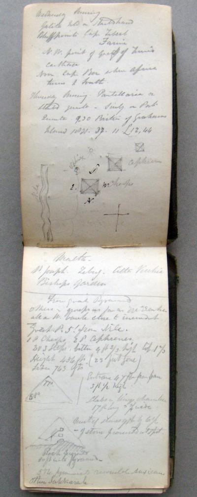 Page from Josephs Hookers notebook showing side views and calculations of the Great Pyramid, JDH/1/8/2/1